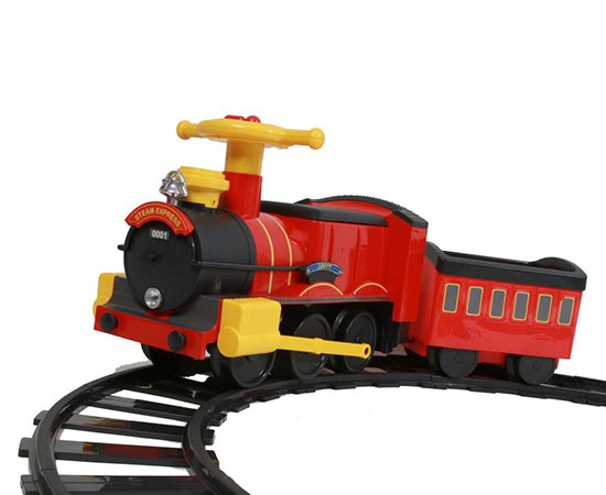 Cartoon Electric Tourist Train with Track